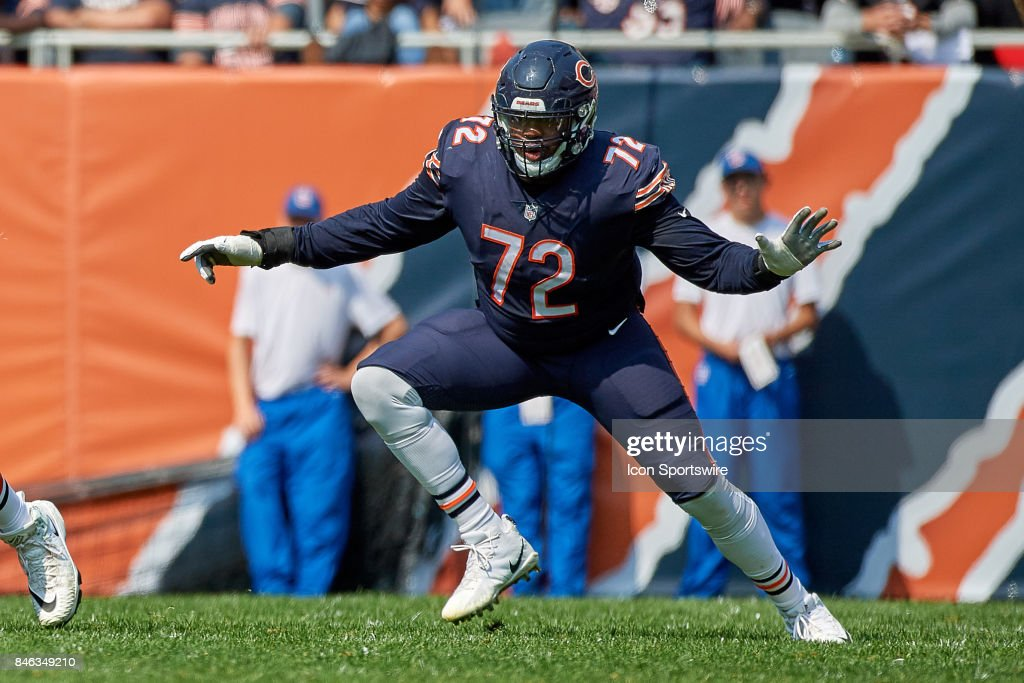 Chicago Bears offensive tackle Charles Leno (72) runs in action during an NFL football game between the Atlanta Falcons and the Chicago Bears on September 10, 2017 at Soldier Field in Chicago, IL.