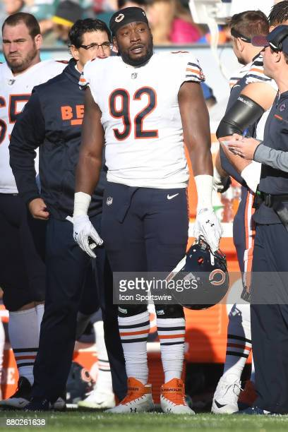 Chicago Bears outside linebacker Pernell McPhee looks on during a NFL football game between the Chicago Bears and the Philadelphia Eagles on November...