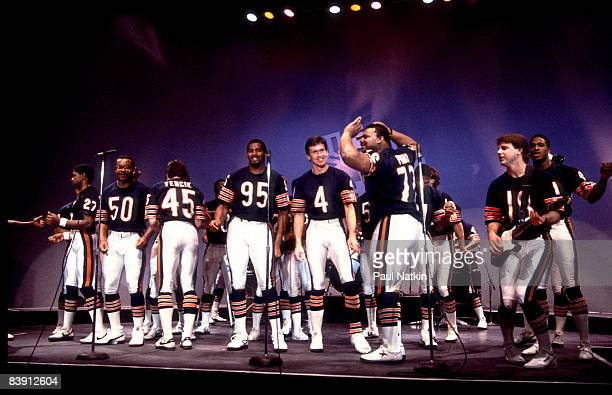 Chicago Bears players during filming of the Super Bowl Shuffle in Chicago Illinois in 1985