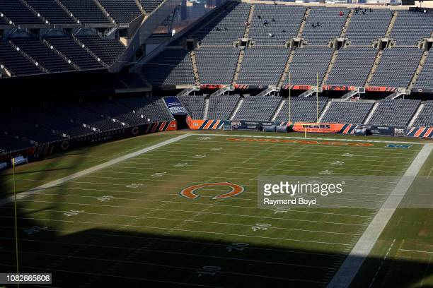 Chicago Bears playing field at Soldier Field, home of the Chicago Bears football team in Chicago, Illinois on December 11, 2018.