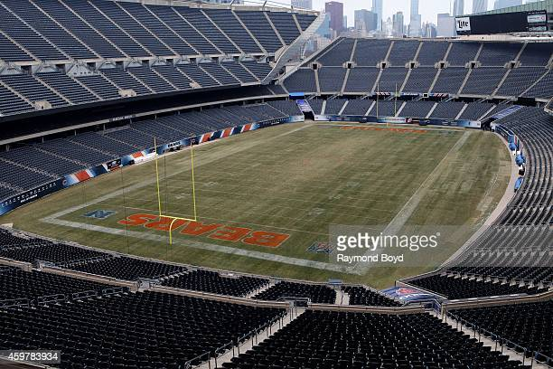 Chicago Bears playing field at Soldier Field home of the Chicago Bears football team in Chicago on November 26 2014 in Chicago Illinois