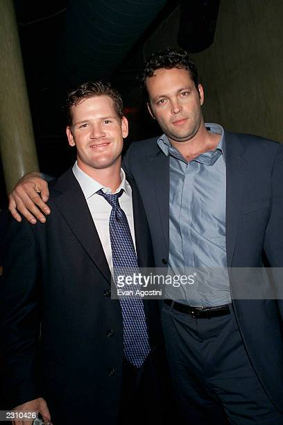 Chicago Bears quarterback Cade McNown with Vince Vaughn at the 'Made' film premiere afterparty at Spa in New York City Photo Evan Agostini/ImageDirect