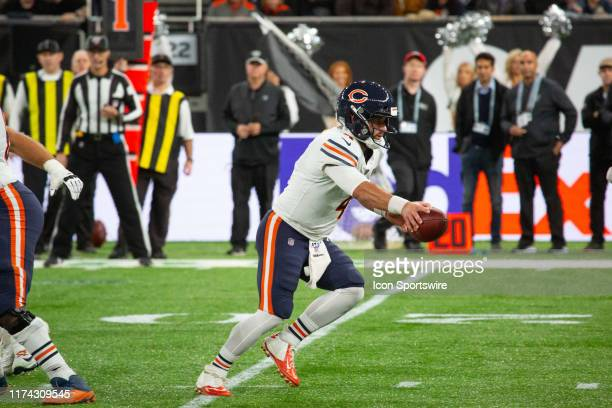 Chicago Bears Quarterback Chase Daniel fakes a handoff during the game between the Chicago Bears and the Oakland Raiders on October 6th, 2019 at...
