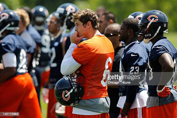 Chicago Bears quarterback Jay Cutler at the team's OTA at Halas Hall in Lake Forest Illinois on Wednesday May 23 2012