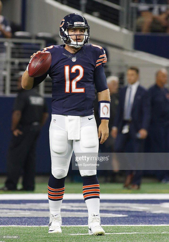 1525ae24995 Chicago Bears Quarterback Matt Barkley warms up prior to a NFL game ...