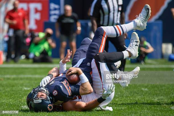 Chicago Bears quarterback Mike Glennon is sacked by Atlanta Falcons defensive end Brooks Reed during an NFL football game between the Atlanta Falcons...