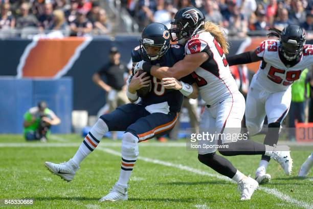 Chicago Bears quarterback Mike Glennon is tackled sacked by Atlanta Falcons defensive end Brooks Reed during an NFL football game between the Atlanta...