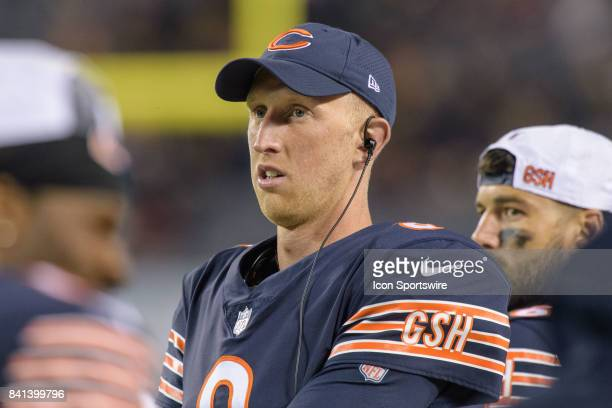 Chicago Bears quarterback Mike Glennon looks on from the sideline during an NFL preseason football game between the Cleveland Browns and the Chicago...