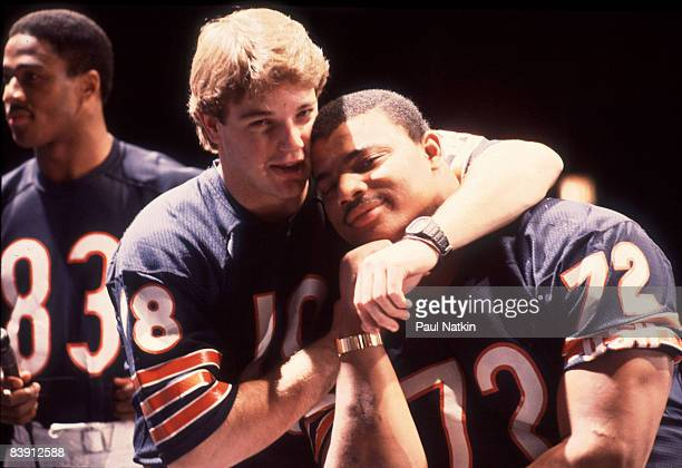 Chicago Bears quarterback Mike Tomczak and defensive tackle William 'The Refridgerator' Perry during filming of the Super Bowl Shuffle in Chicago...