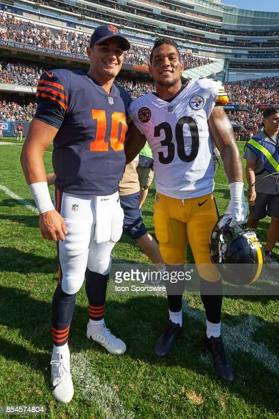 Chicago Bears quarterback Mitchell Trubisky and Pittsburgh Steelers running back James Conner pose for a picture after an NFL football game between...