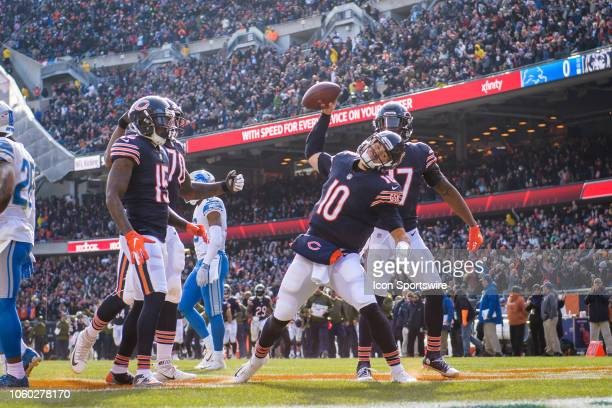 Chicago Bears quarterback Mitchell Trubisky celebrates his rushing touchdown in the 2nd quarter during an NFL football game between the Detroit Lions...