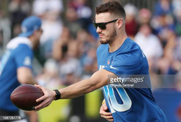 NFC Chicago Bears quarterback Mitchell Trubisky hands off the ball during NFL Pro Bowl practice at ESPN Wide World of Sports on Wednesday January 23...