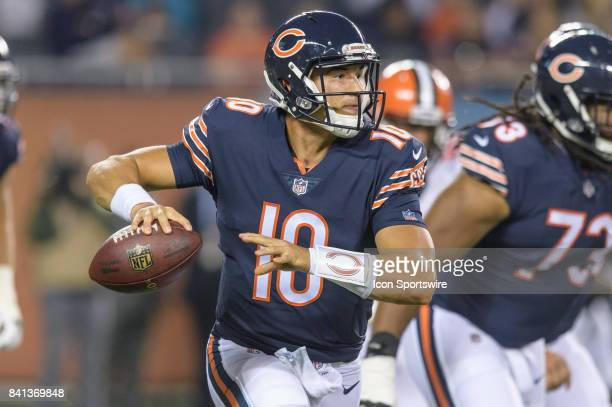 Chicago Bears quarterback Mitchell Trubisky looks to pass in the 2nd quarter during an NFL preseason football game between the Cleveland Browns and...