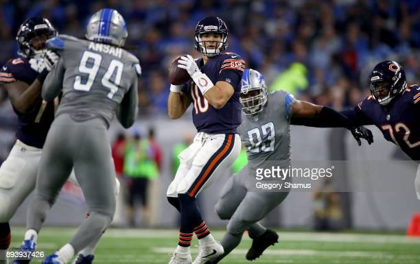 Chicago Bears quarterback Mitchell Trubisky looks to pass the ball against the Detroit Lions during the first half at Ford Field on December 16 2017...