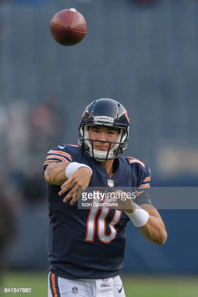 Chicago Bears quarterback Mitchell Trubisky warms up during an NFL preseason football game between the Cleveland Browns and the Chicago Bears on...