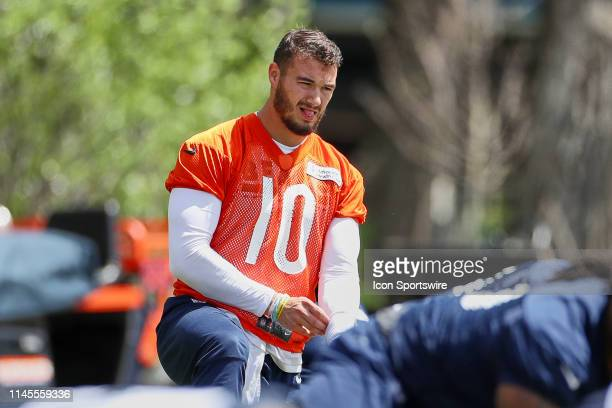Chicago Bears quarterback Mitchell Trubisky warms up in action during the Chicago Bears organized team activities or OTA on May 22, 2019 at Halas...