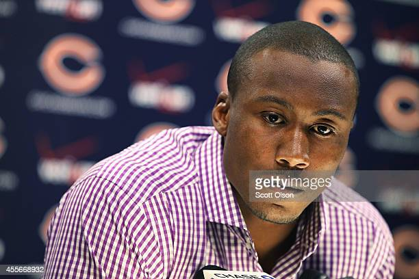 Chicago Bears receiver Brandon Marshall speaks to the media about his past, domestic violence, and media coverage of the issue at Halas Hall on...