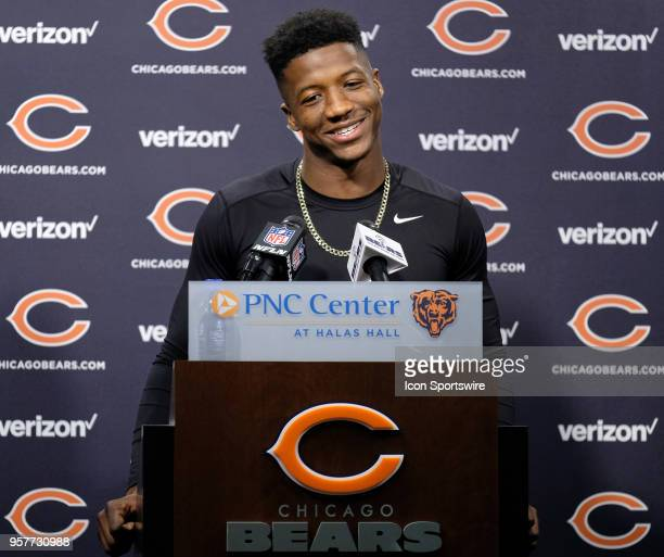 Chicago Bears rookie wide receiver Anthony Miller talks to the media before the Chicago Bears Rookie Minicamp on May 12 2018 at Halas Hall in Lake...