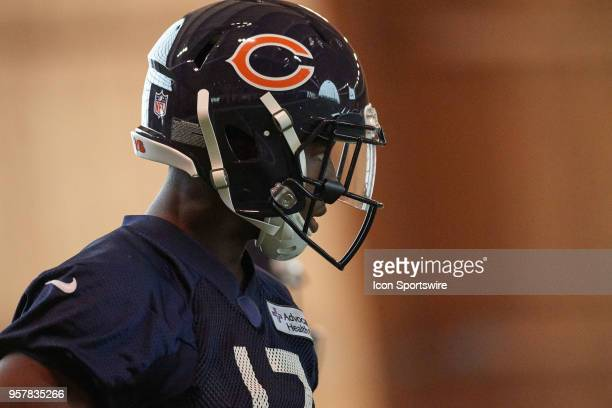 Chicago Bears rookie wide receiver Anthony Miller warms up during the Chicago Bears Rookie Minicamp on May 12 2018 at Halas Hall in Lake Forest IL