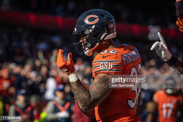 Chicago Bears Running Back David Montgomery celebrates after running for a touchdown in the 3rd quarter during an NFL football game between the Los...