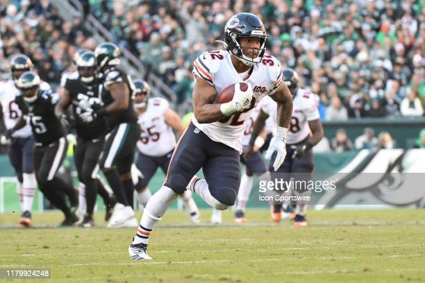 Chicago Bears Running Back David Montgomery runs the ball during the game between the Chicago Bears and the Philadelphia Eagles on November 3 2019 at...