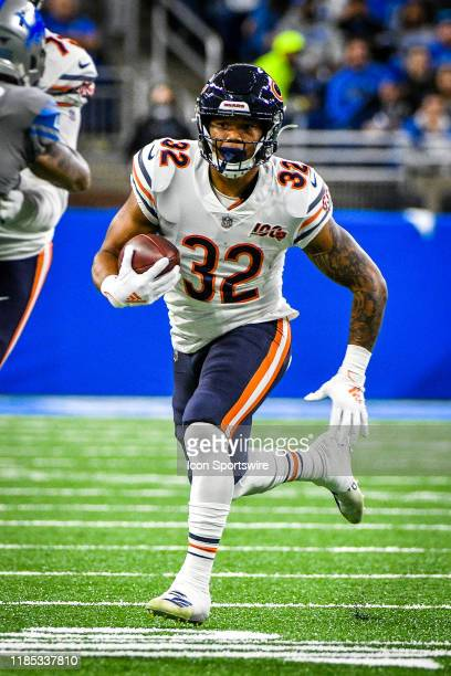 Chicago Bears running back David Montgomery runs wide during the Detroit Lions versus Chicago Bears game on Thursday November 28 2019 at Ford Field...
