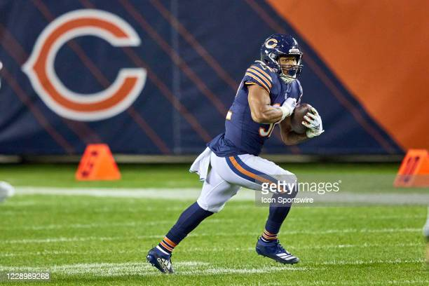 Chicago Bears Running Back David Montgomery runs with the football in game action during a NFL game between the Chicago Bears and the Tampa Bay...