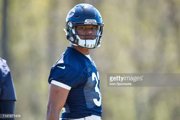 Chicago Bears running back David Montgomery warms up during the Chicago Bears Rookie MiniCamp on May 5 2019 at Halas Hall in Lake Forest IL