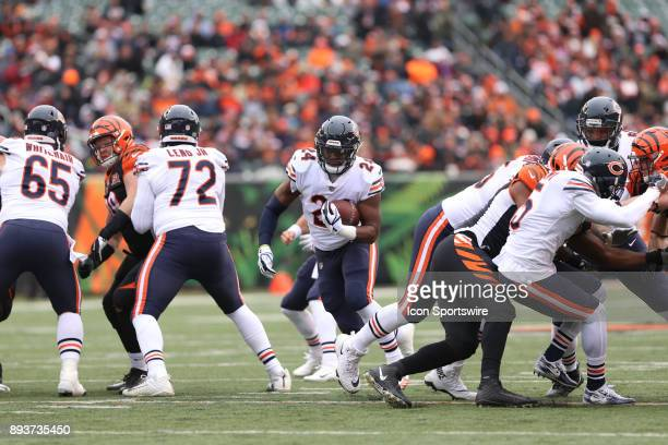 Chicago Bears running back Jordan Howard carries the ball during the game against the Chicago Bears and the Cincinnati Bengals on December 10th 2017...