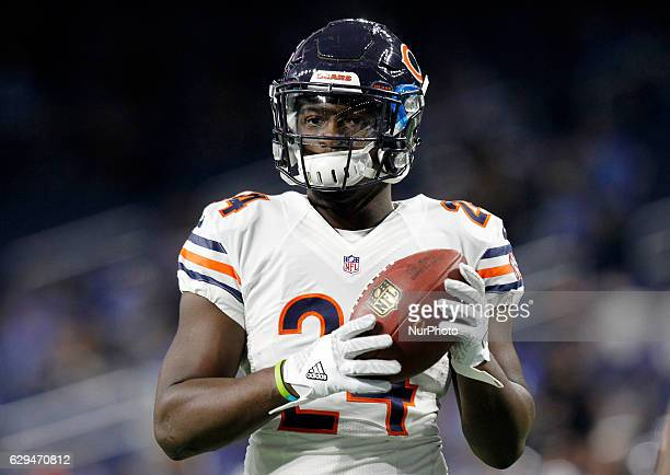 Chicago Bears running back Jordan Howard is seen during pregame of an NFL football game against the Detroit Lions in Detroit Michigan USA on Sunday...