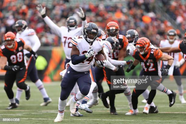 Chicago Bears running back Jordan Howard scores a touchdown during the game against the Chicago Bears and the Cincinnati Bengals on December 10th...
