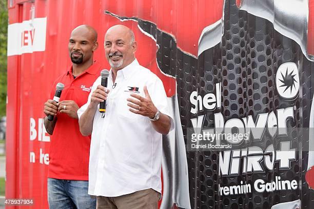 Chicago Bears running back Matt Forte and racing legend Bobby Rahal celebrate the North American launch of the new Shell VPower NiTRO Premium...