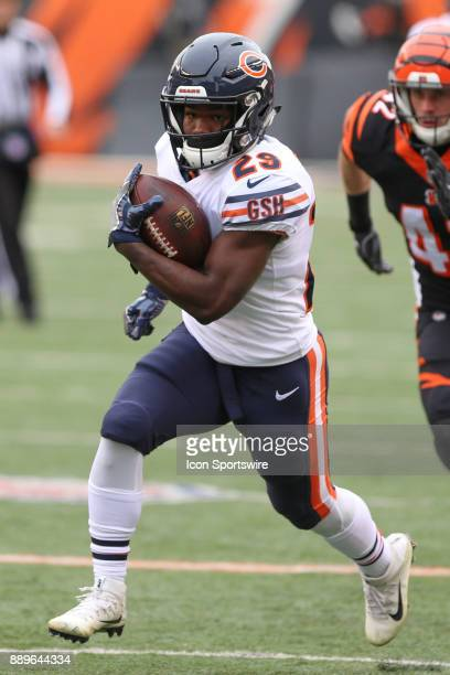 Chicago Bears running back Tarik Cohen carries the ball during the game against the Chicago Bears and the Cincinnati Bengals on December 10th 2017 at...