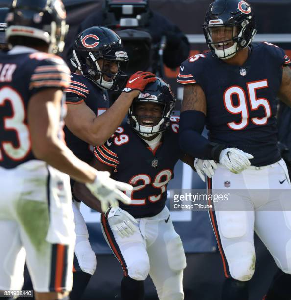 Chicago Bears running back Tarik Cohen is congratulated after scoring a touchdown off a punt return in the second quarter against the San Francisco...