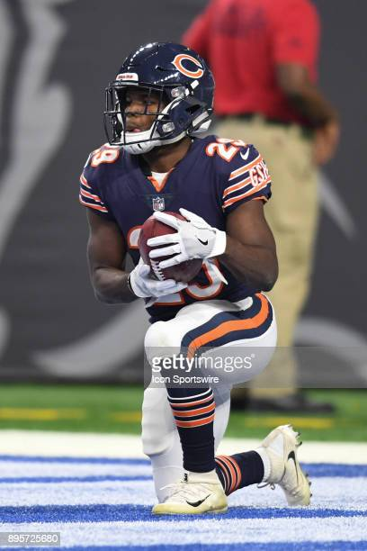 Chicago Bears running back Tarik Cohen knees the ball in the end zone during a game between the Chicago Bears and the Detroit Lions on December 16 at...