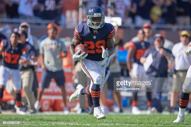 Chicago Bears running back Tarik Cohen runs with the football during an NFL football game between the Pittsburgh Steelers and the Chicago Bears on...