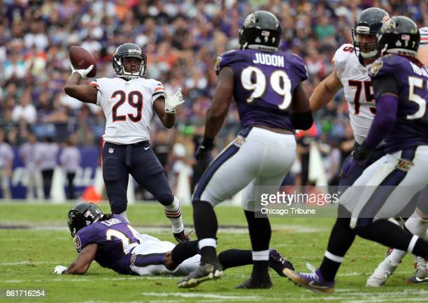 Chicago Bears running back Tarik Cohen throws a touchdown pass against the Baltimore Ravens in the second quarter on Sunday Oct 15 2017 at MT Bank...