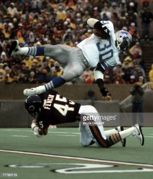 Chicago Bears safety Gary Fencik nails Detroit Lions running back James Jones during a 243 Bears victory on November 10 at Soldier Field in Chicago...