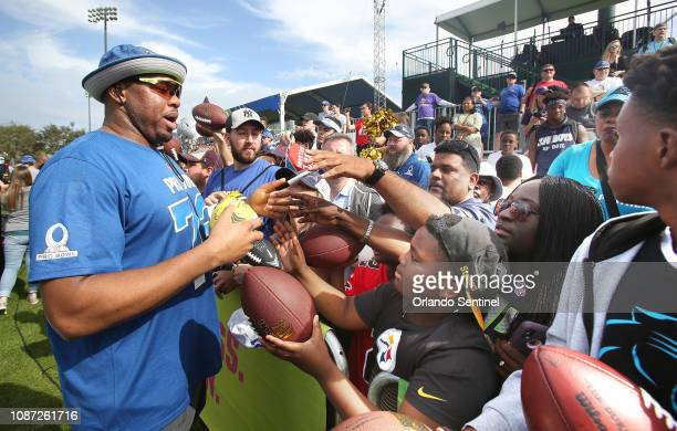 NFC Chicago Bears tackle Charles Leno Jr signs autographs during NFL Pro Bowl practice at ESPN Wide World of Sports on Wednesday January 23 2019