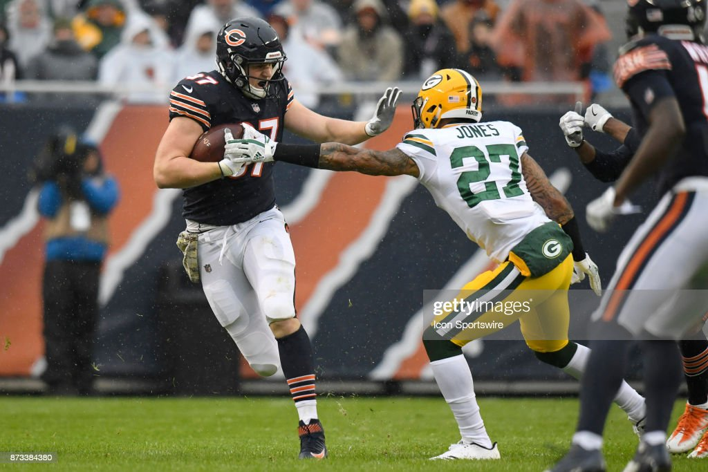 Chicago Bears tight end Adam Shaheen (87) battles with Green Bay Packers safety Josh Jones (27) during an NFL football game between the Green Bay Packers and the Chicago Bears on November 12, 2017 at Soldier Field in Chicago, IL.