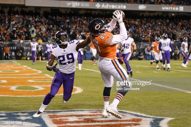 Chicago Bears tight end Adam Shaheen beats Minnesota Vikings cornerback Xavier Rhodes to score a two point conversion in action during a NFL game...