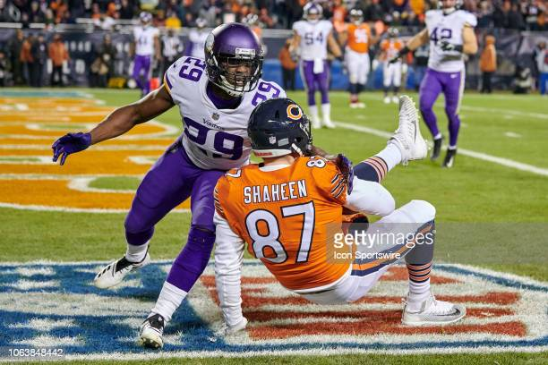 Chicago Bears tight end Adam Shaheen beats Minnesota Vikings cornerback Xavier Rhodes to scoring a two point conversion in action during a NFL game...