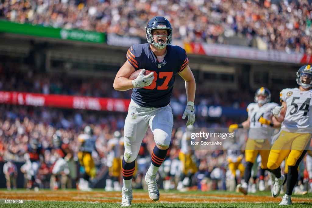 Chicago Bears tight end Adam Shaheen (87) catches the football in the endzone for a touchdown during an NFL football game between the Pittsburgh Steelers and the Chicago Bears on September 24, 2017 at Soldier Field in Chicago, IL.