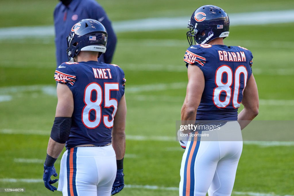 Chicago Bears tight end Cole Kmet and tight end Jimmy Graham looks on...  News Photo - Getty Images
