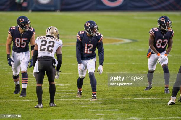 Chicago Bears tight end Cole Kmet , wide receiver Allen Robinson and wide receiver Javon Wims in action during a game between the Chicago Bears and...