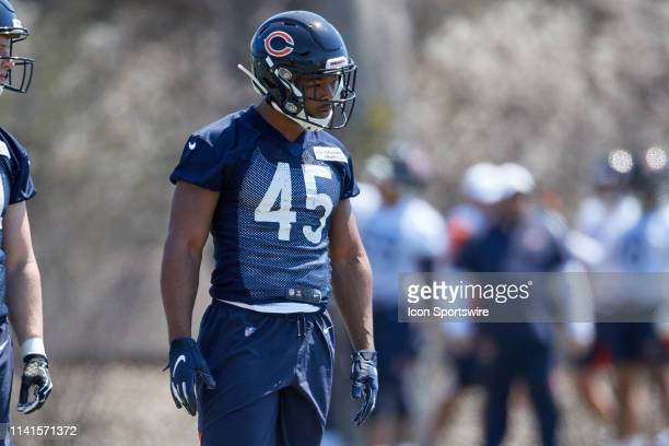 Chicago Bears tight end Ellis Richardson warms up during the Chicago Bears Rookie Mini-Camp on May 5, 2019 at Halas Hall, in Lake Forest, IL.