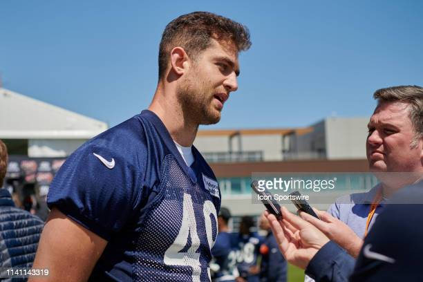 Chicago Bears tight end Ian Bunting answers questions from the media prior to warm ups during the Chicago Bears Rookie Minicamp on May 4, 2019 at...