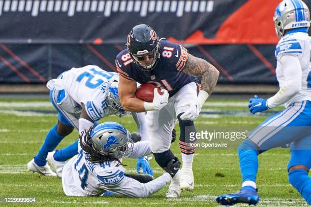 Chicago Bears tight end J.P. Holtz battles with Detroit Lions linebacker Jalen Reeves-Maybin in action during a game between the Chicago Bears and...