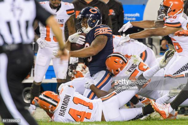 Chicago Bears tight end MyCole Pruitt is tackled after catching a pass for 52 yards in the 4th quarter during an NFL preseason football game between...