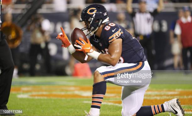 Chicago Bears tight end Trey Burton celebrates after rushing for a touchdown against the Seattle Seahawks in the first quarter on Monday Sept 17 2018...